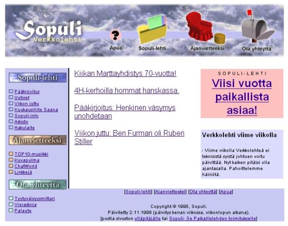 Sopuli.fi syksy 1998