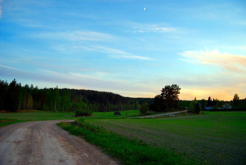 Maaseutu, soratie Kaltsilassa, taustalla Kotovuori