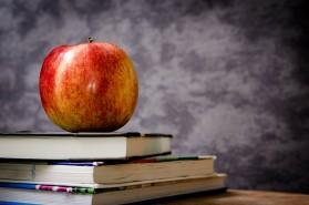 Koulu, opiskelu, omena, kirjat