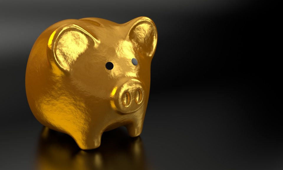 Pankki, säästöpossu, raha, talous
