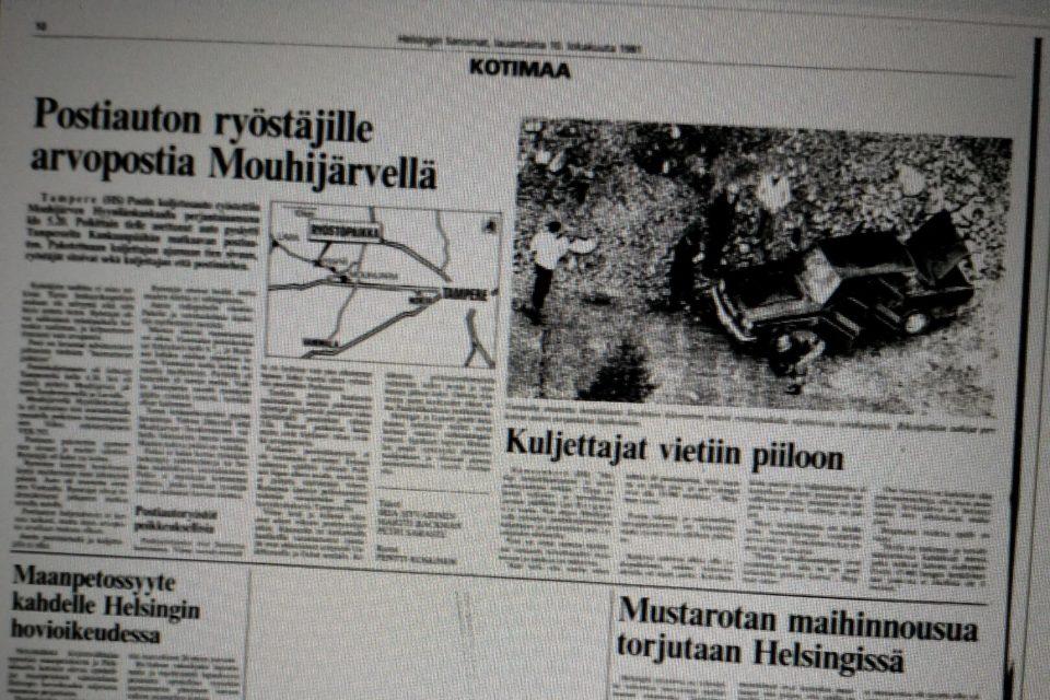 Mouhijärven postiautoryöstö, Helsingin Sanomat